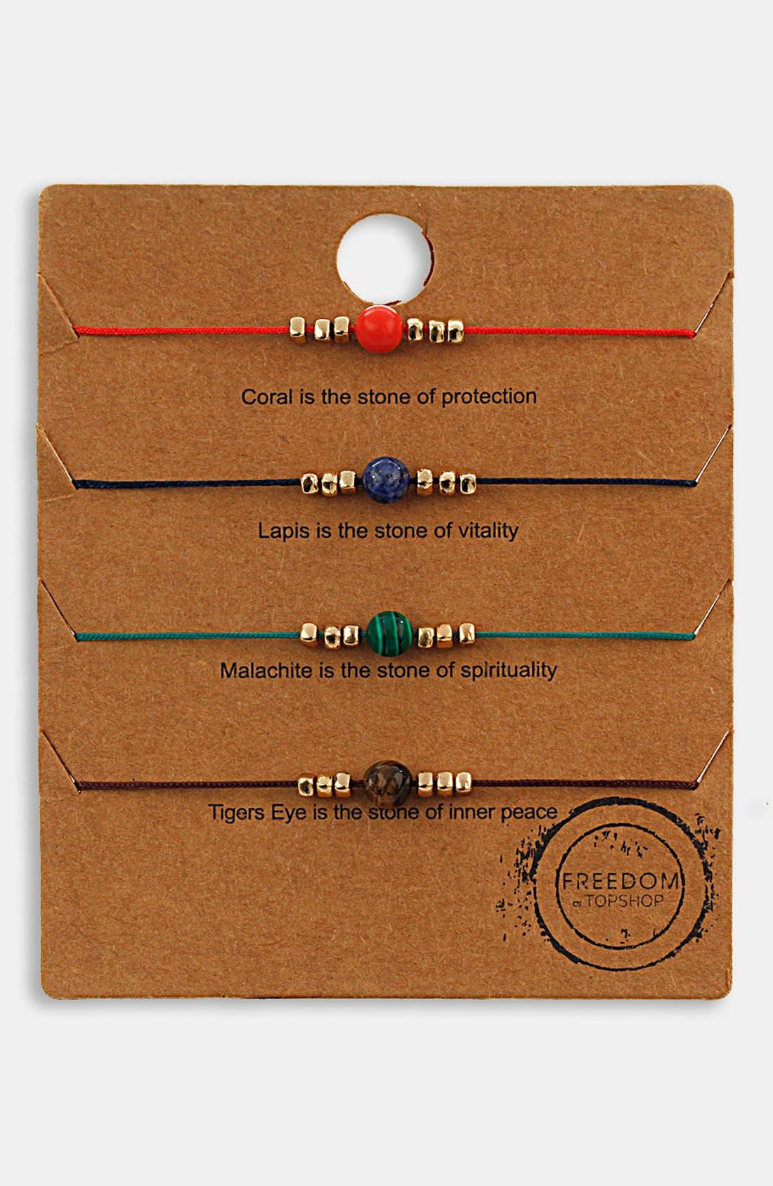 Main Image - Topshop Mixed Bead Friendship Bracelets (Set of 4)