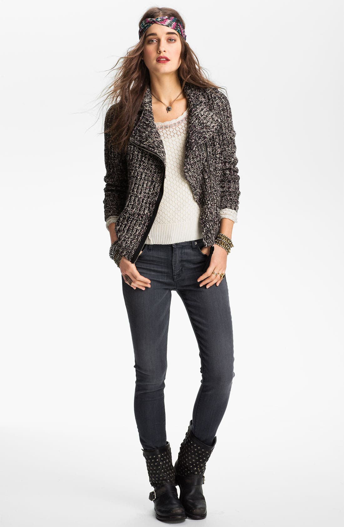 Alternate Image 1 Selected - Free People 'Salt & Pepper' Knit Biker Jacket