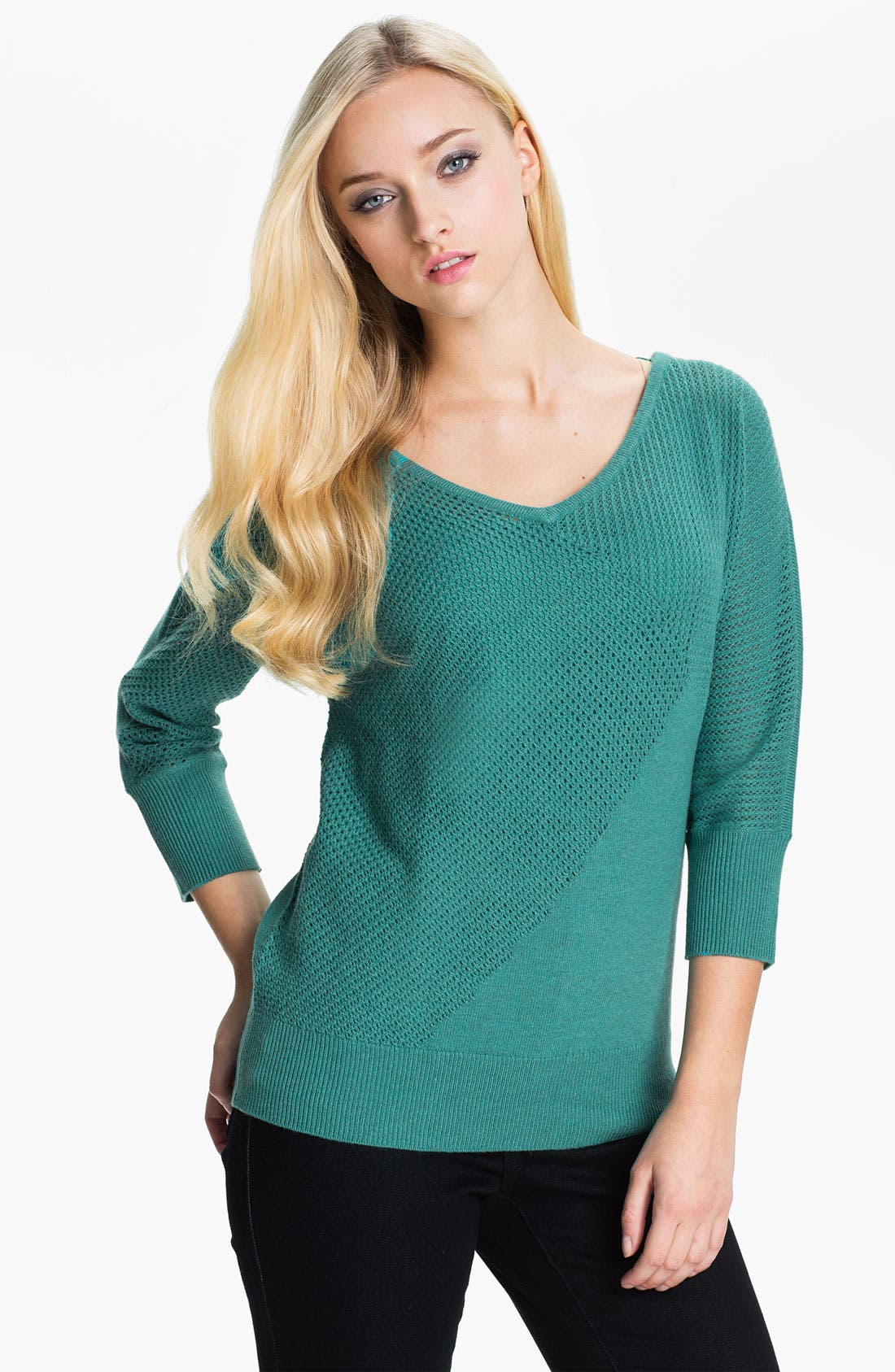 Alternate Image 1 Selected - Amber Sun V-Neck Mix Knit Sweater