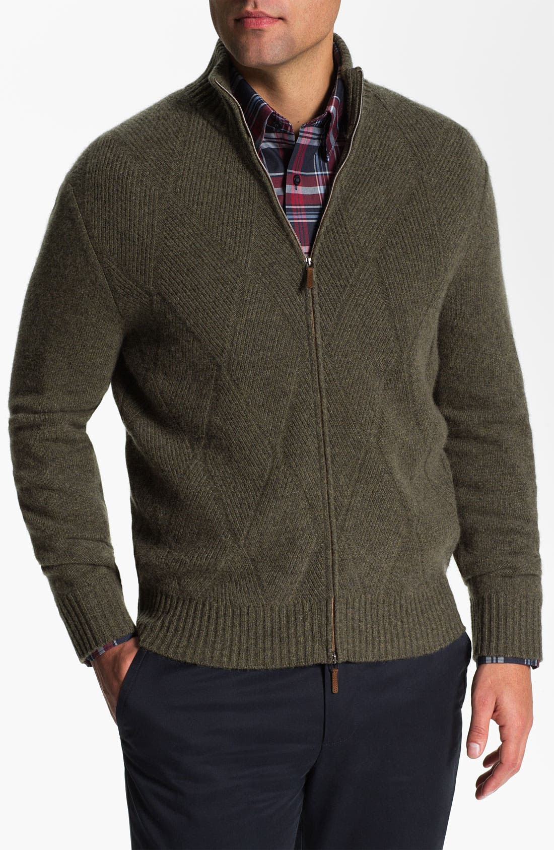 Alternate Image 1 Selected - Lora Gi Wool & Cashmere Zip Cardigan