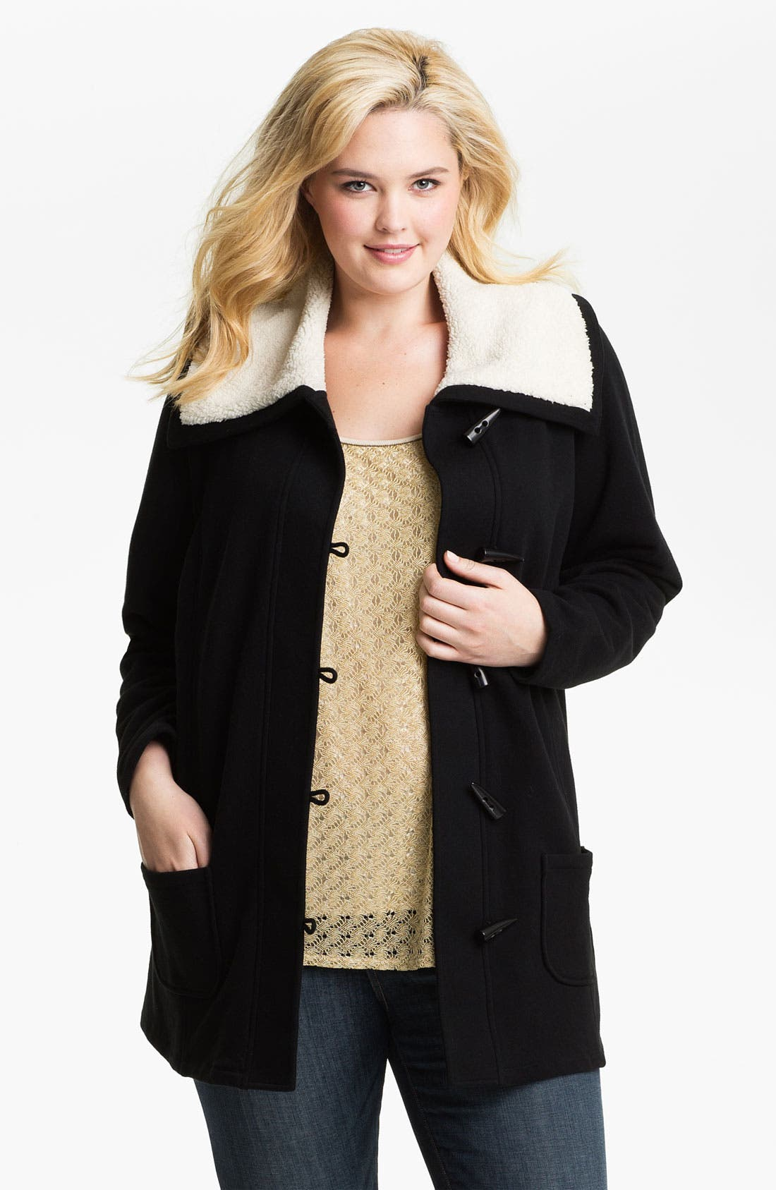 Main Image - Sejour Fleece Collar French Terry Jacket (Plus)