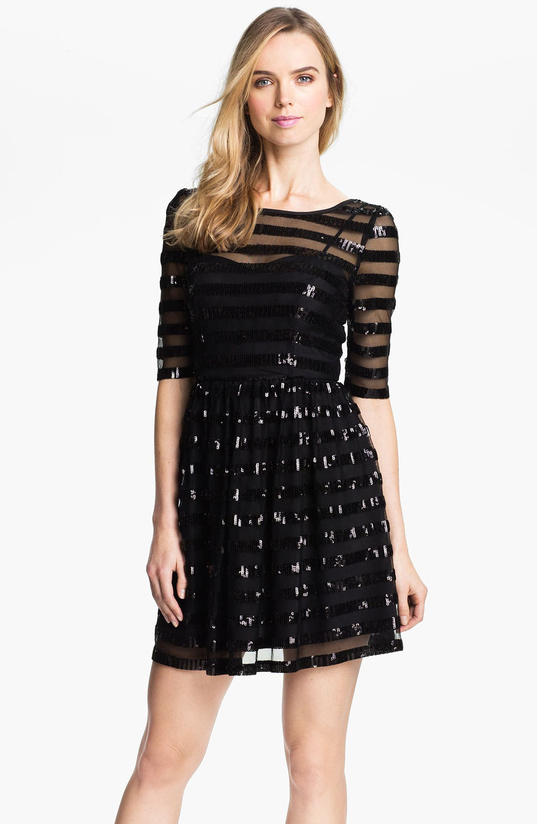Main Image - Max & Cleo Sequin Stripe Overlay Fit & Flare Mesh Dress