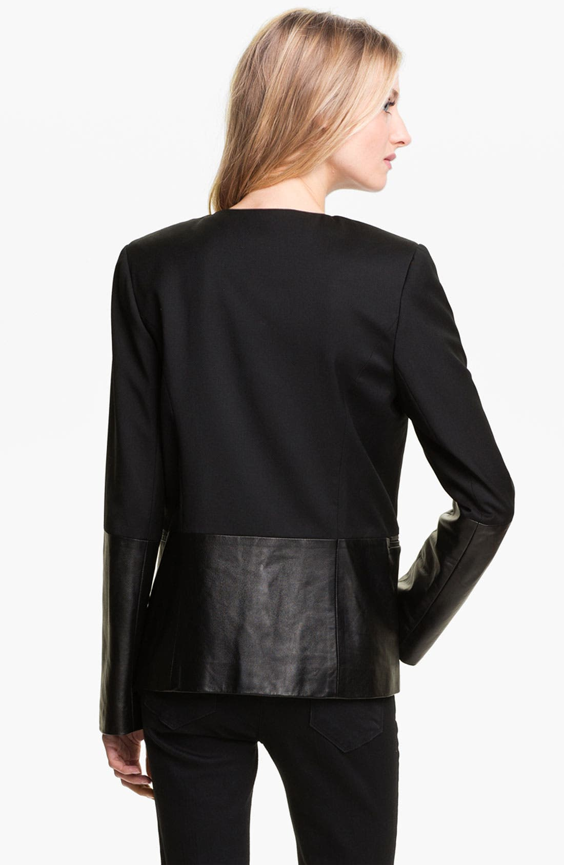 Alternate Image 2  - Parker Leather Sleeve Jacket