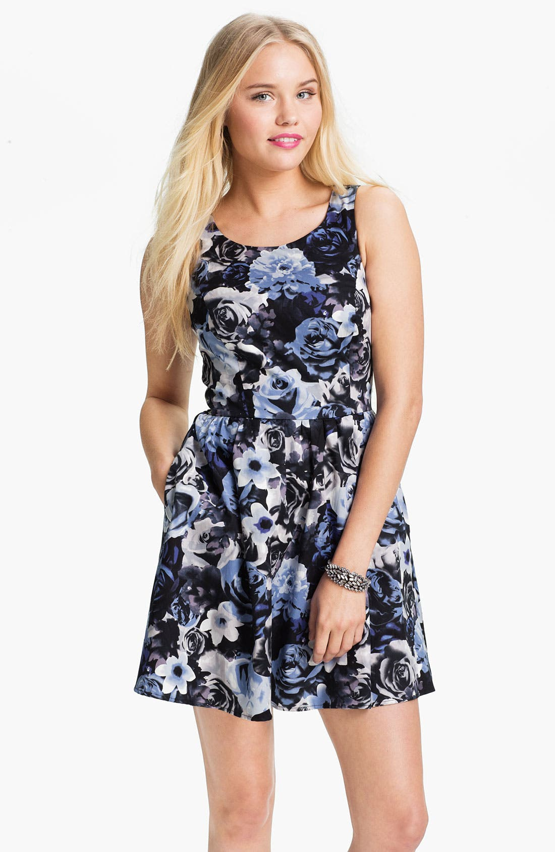 Alternate Image 1 Selected - Mimi Chica Print Sleeveless Dress (Juniors)