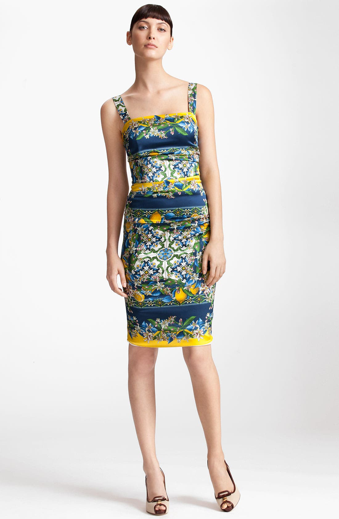 Main Image - Dolce&Gabbana Tile Print Stretch Satin Dress