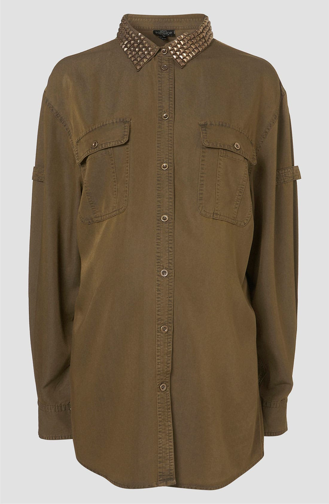 Main Image - Topshop Studded Military Maternity Shirt