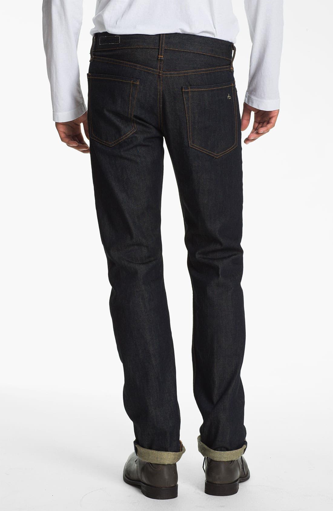 Alternate Image 2  - rag & bone 'RB19X' Slim Straight Leg Jeans (Olive Resin)