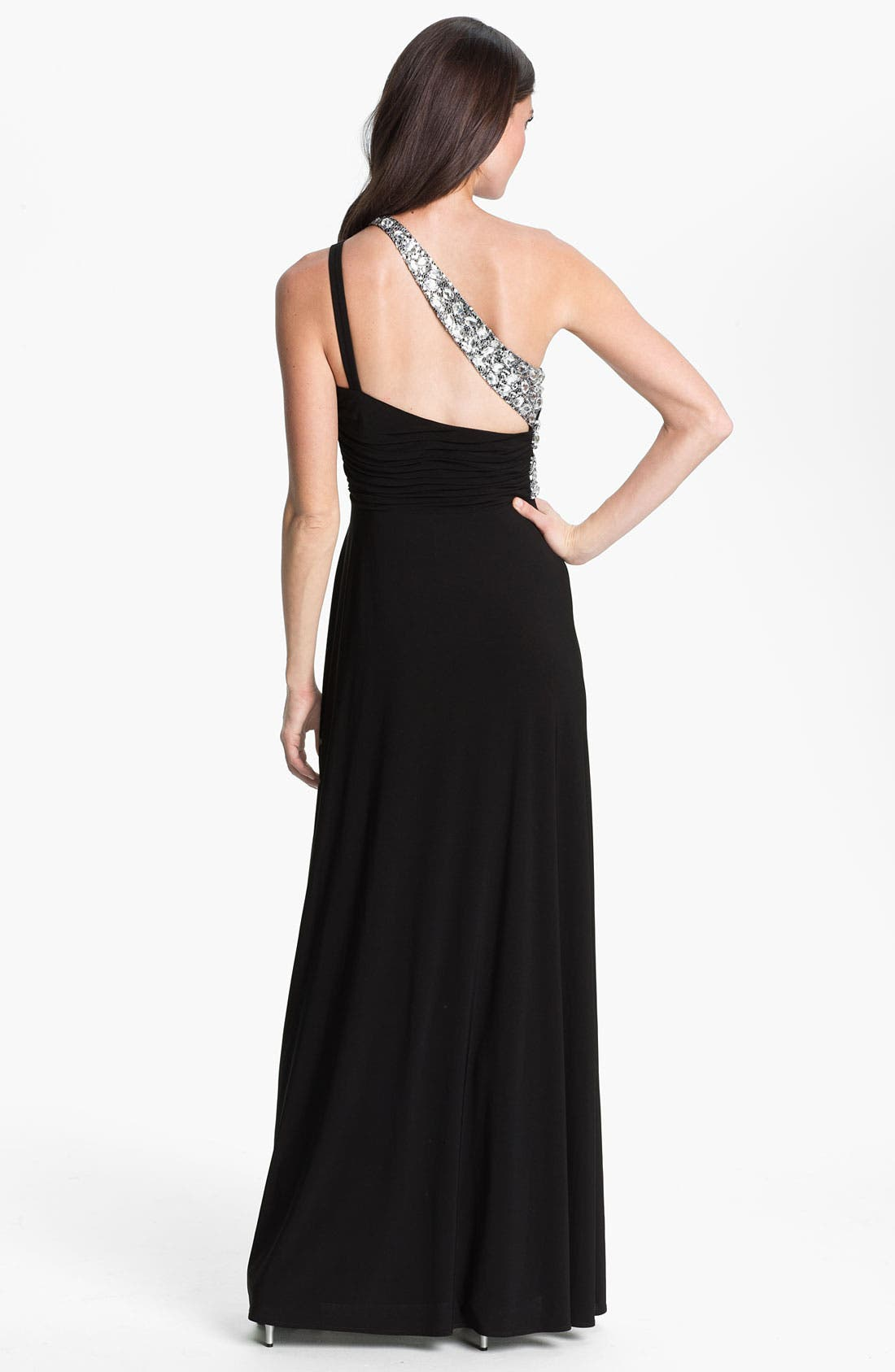 Alternate Image 2  - Hailey by Adrianna Papell One Shoulder Embellished Trim Jersey Gown