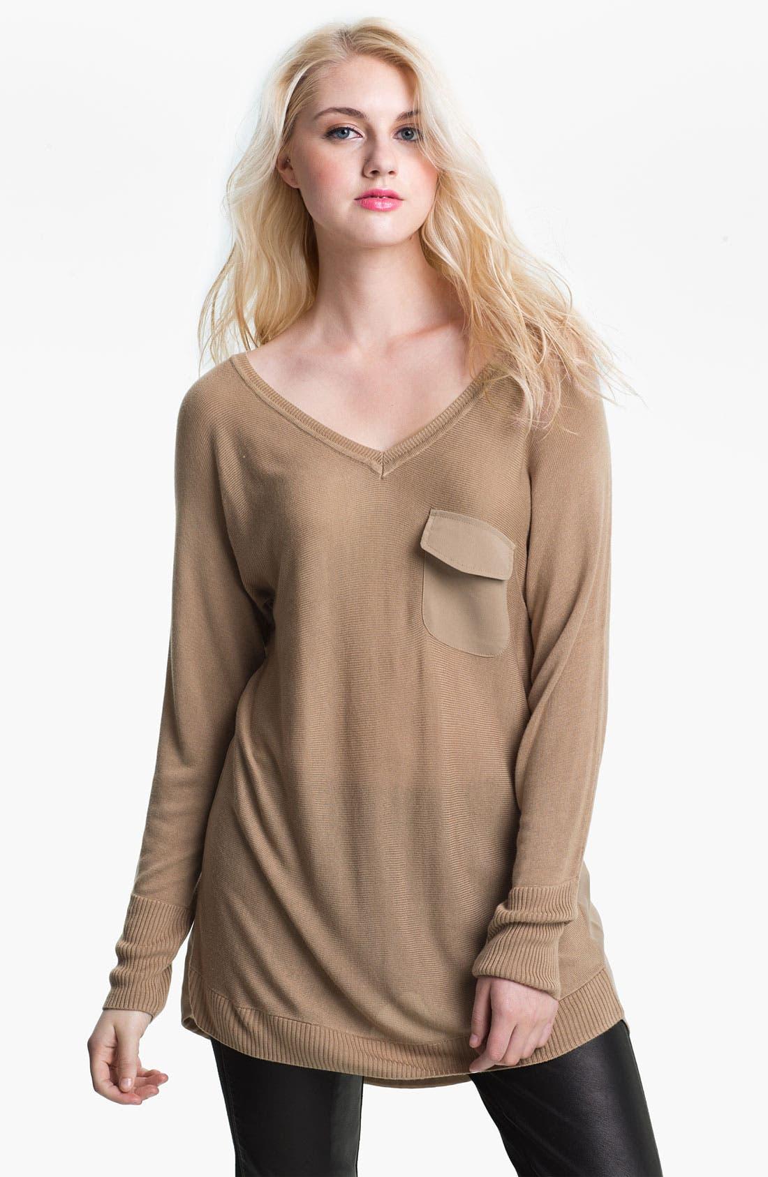 Alternate Image 1 Selected - Max & Mia V-Neck Chiffon Back Sweater