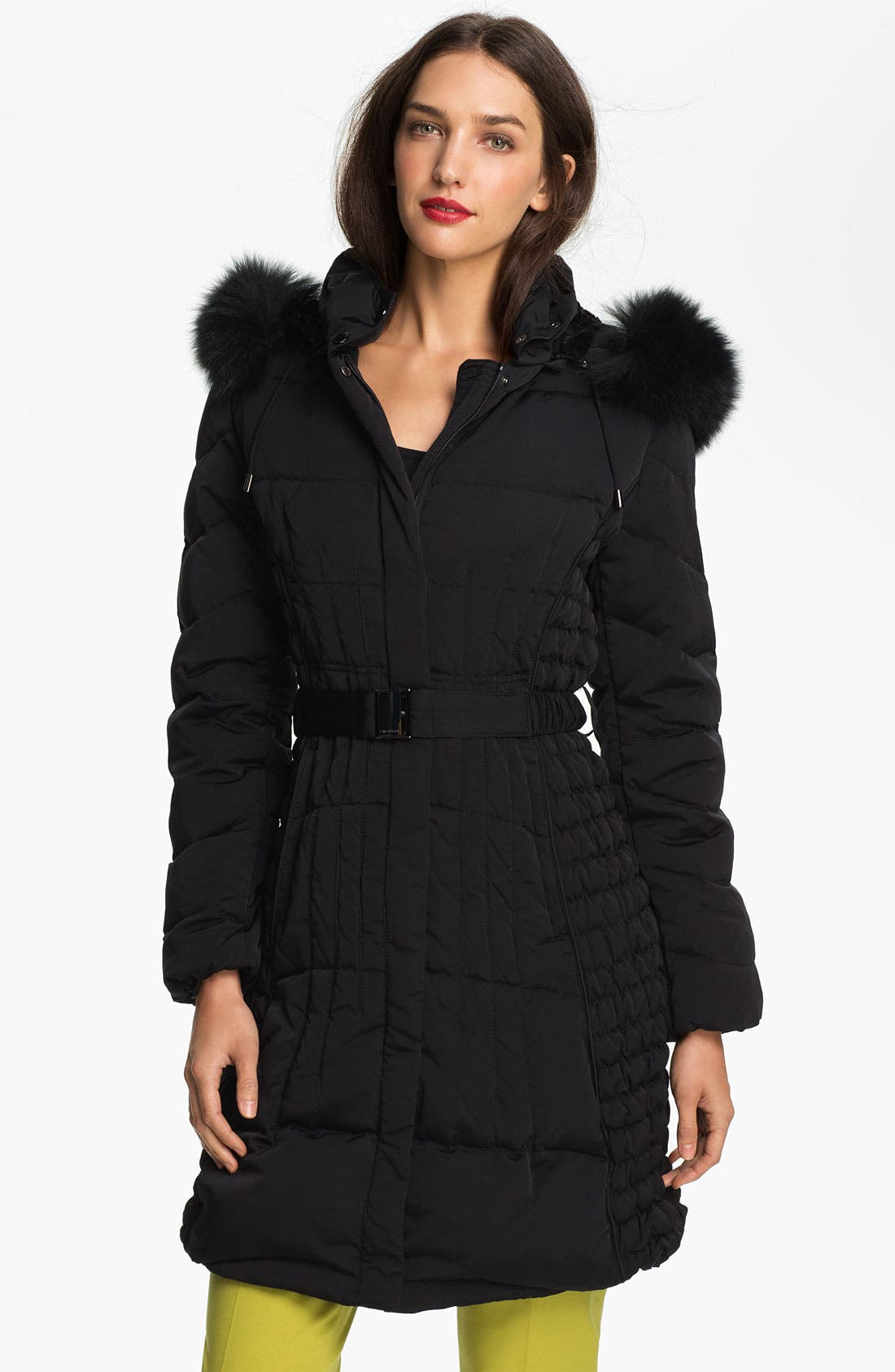 Alternate Image 1 Selected - 1 Madison Quilted Coat with Genuine Fox Fur