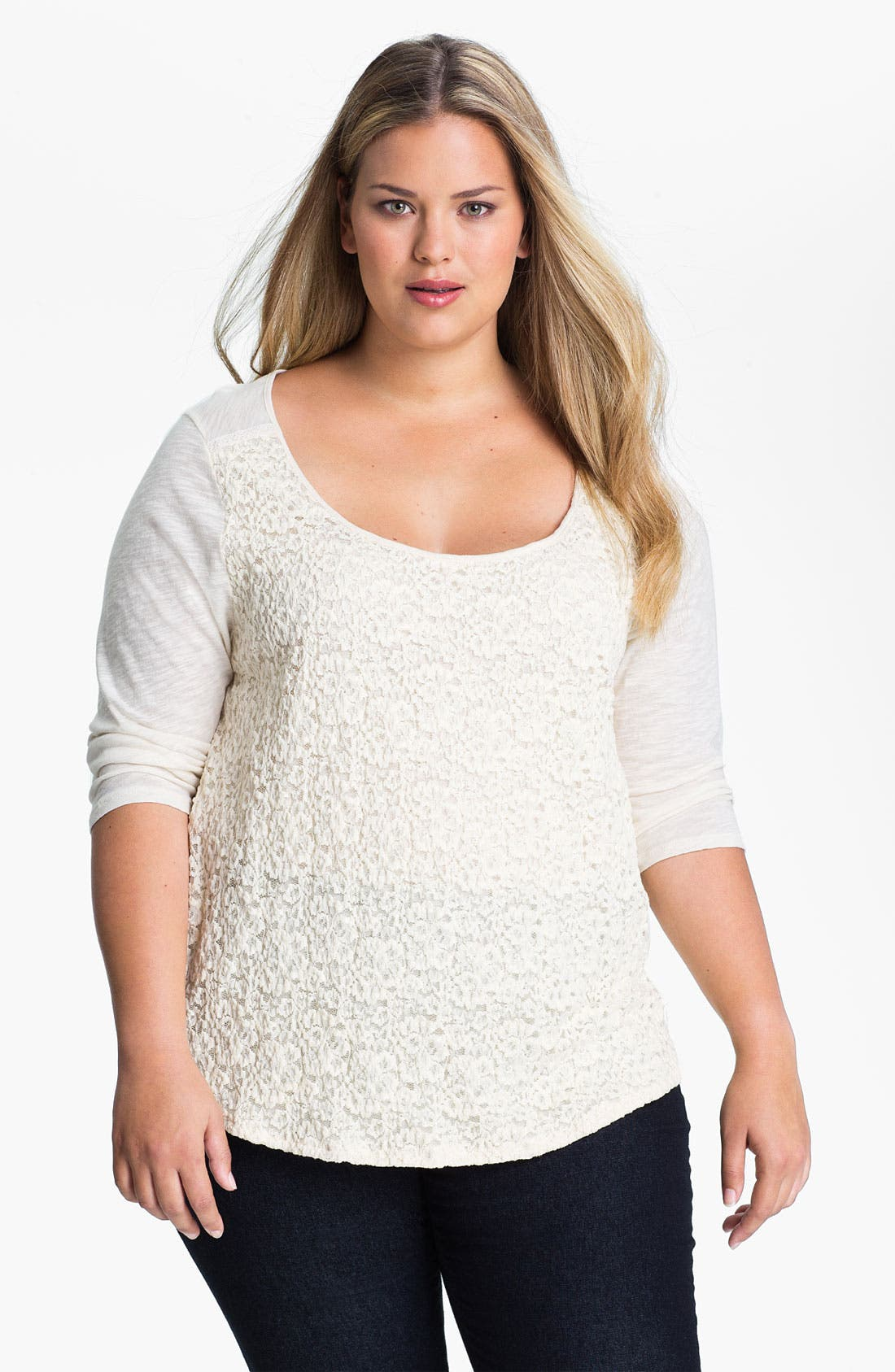 Alternate Image 1 Selected - Lucky Brand 'Lillian' Lace Tee (Plus)