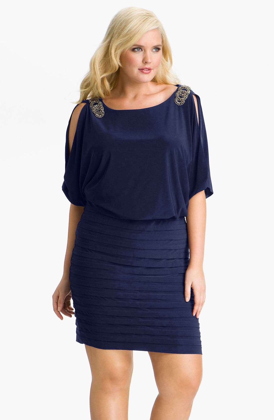 Alternate Image 1 Selected - Xscape Embellished Matte Jersey Blouson Dress (Plus)