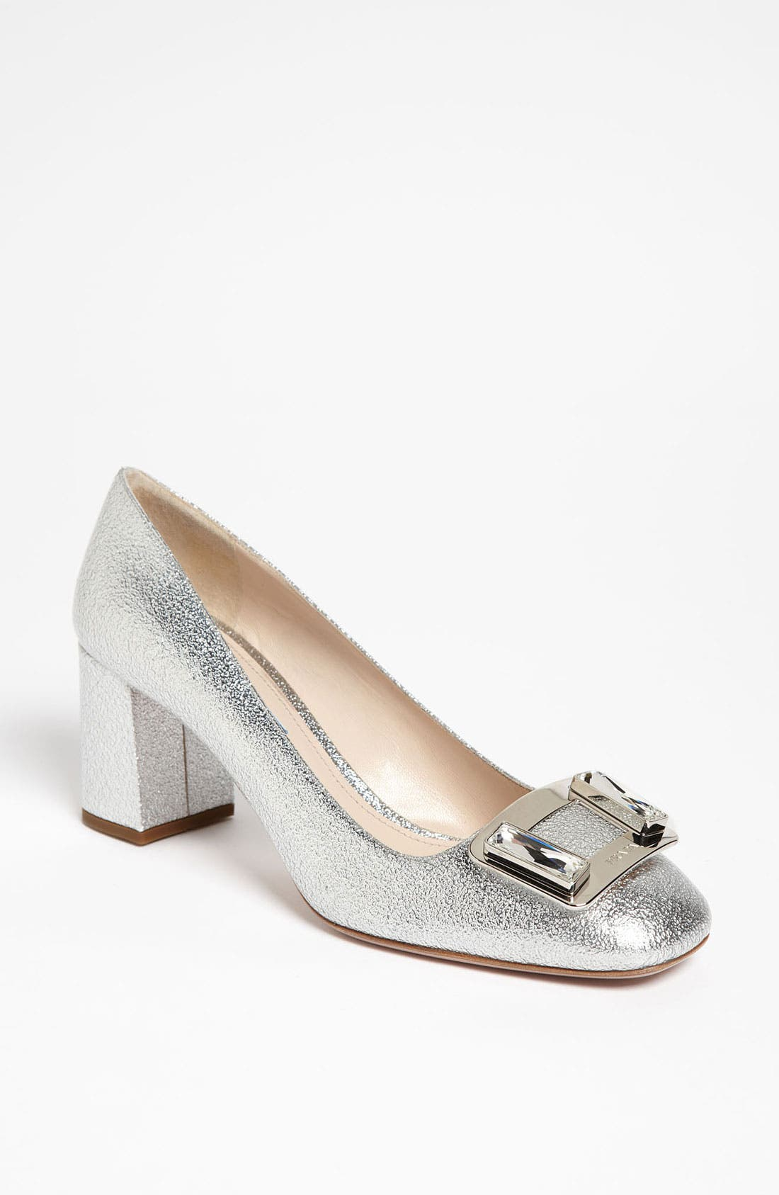 Main Image - Prada Crystal Metal Buckle Pump