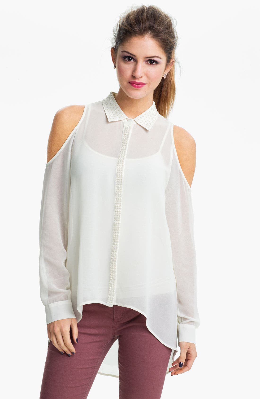 Alternate Image 1 Selected - Chloe K Pearl Embellished Cutout Shirt (Juniors)