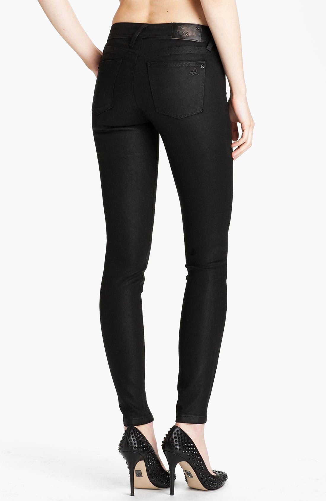 Alternate Image 2  - DL1961 'Amanda' Coated Denim Skinny Jeans (Hematite)