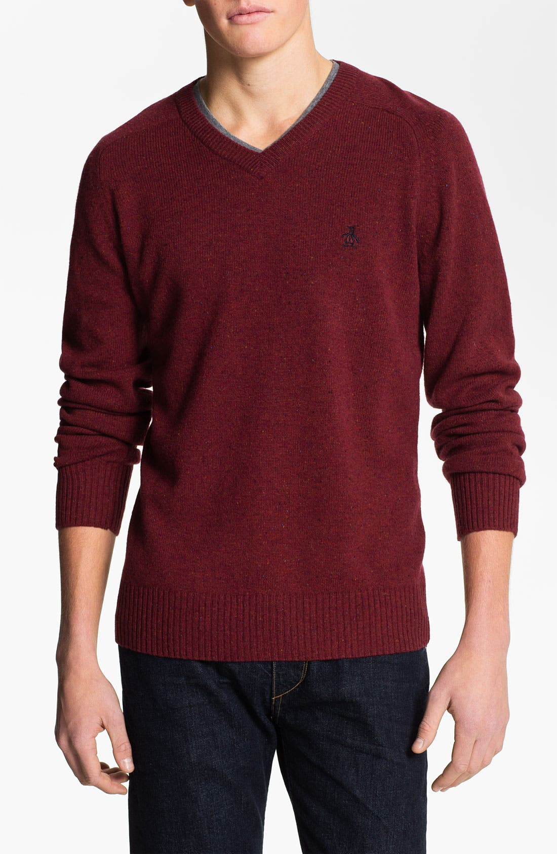 Alternate Image 1 Selected - Original Penguin Speckled Knit V-Neck Sweater