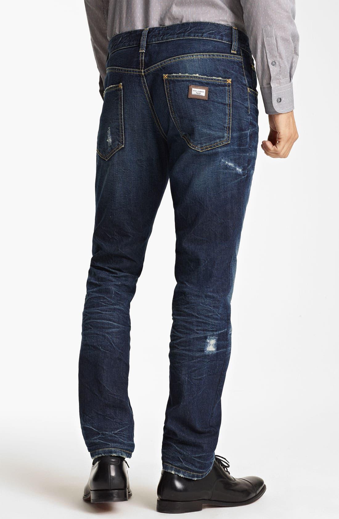 Alternate Image 2  - Dolce&Gabbana Slim Fit Jeans (Dark Blue)