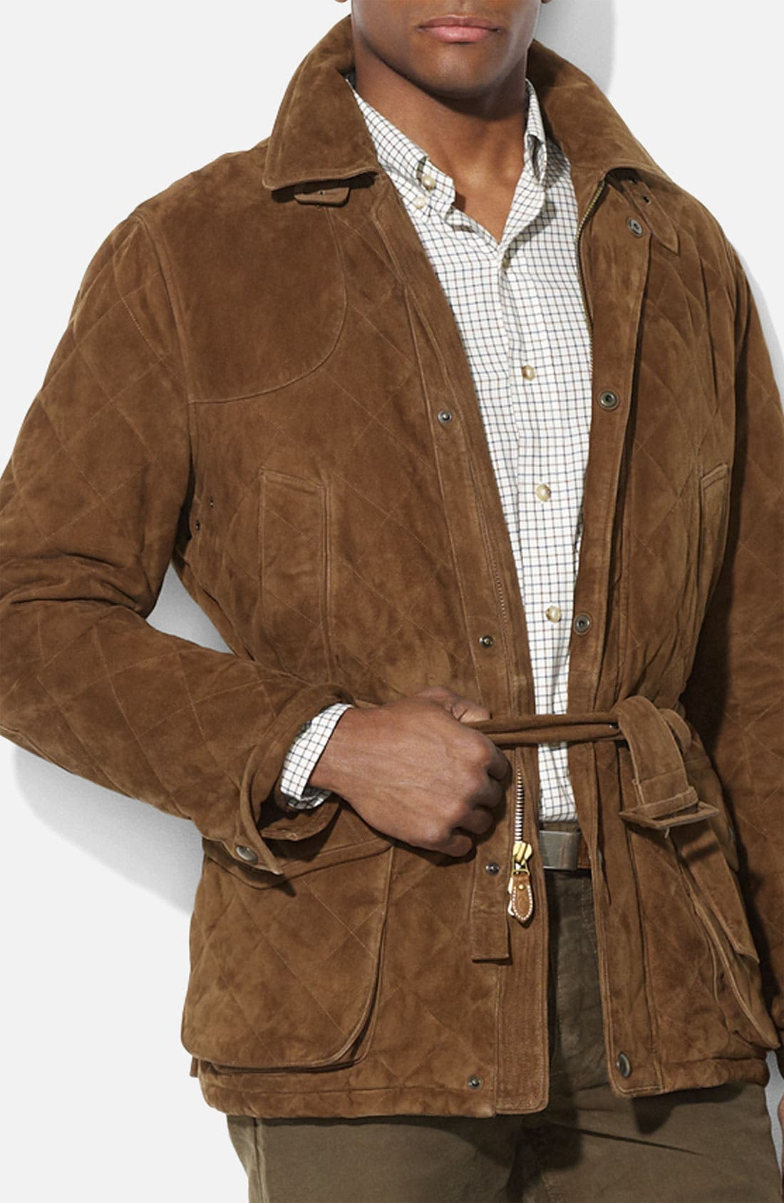 Alternate Image 1 Selected - Polo Ralph Lauren Quilted Suede Car Coat