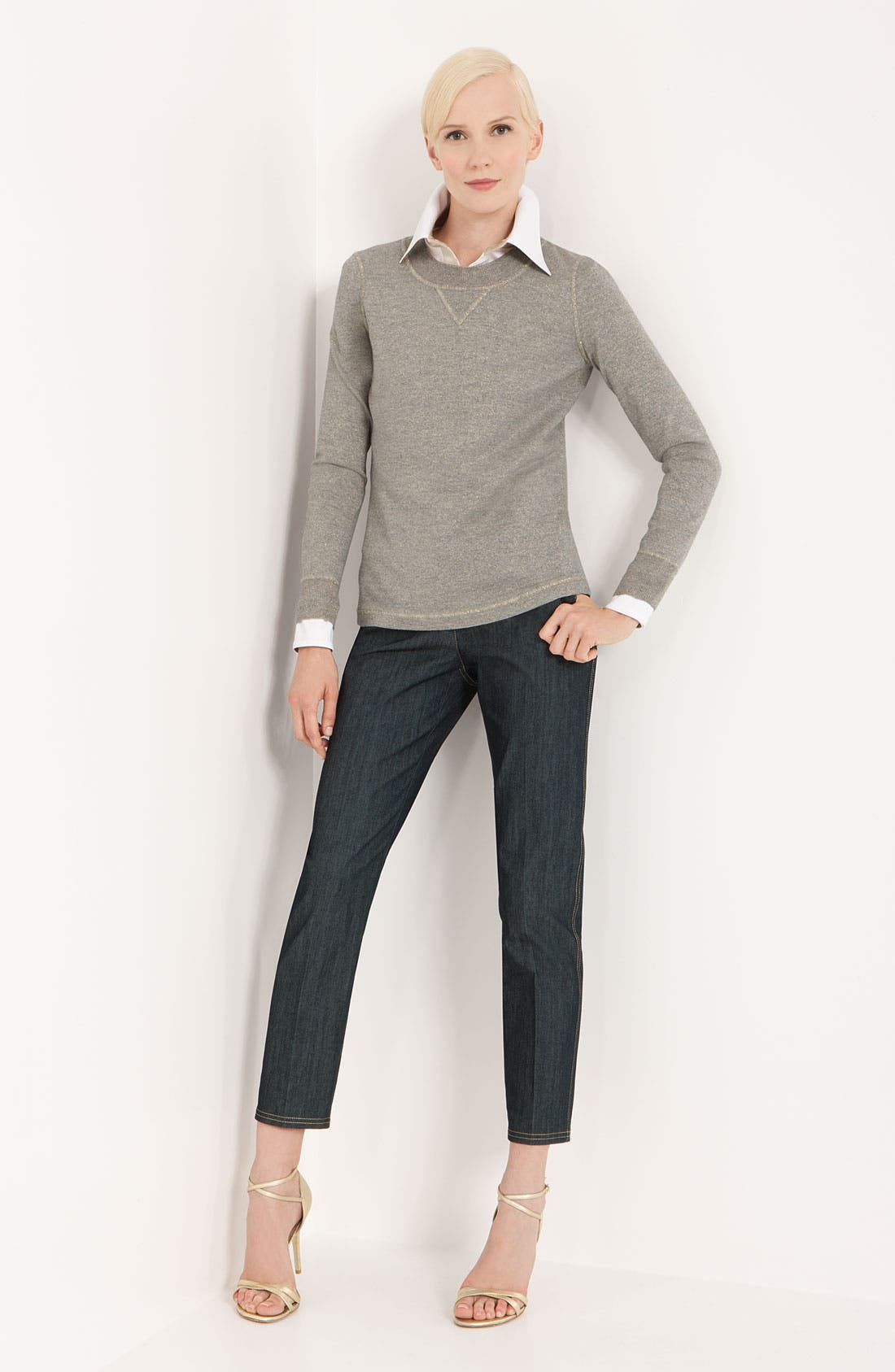 Alternate Image 7  - St. John Collection Lightweight Denim Crop Pants