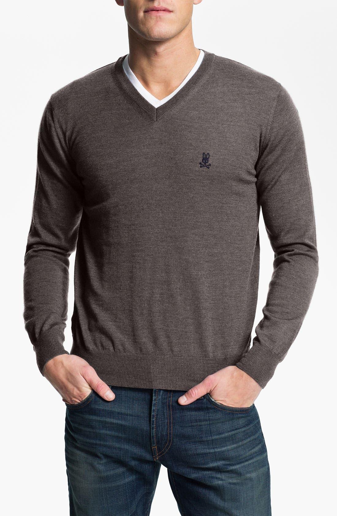 Main Image - Psycho Bunny Merino Wool V-Neck Sweater