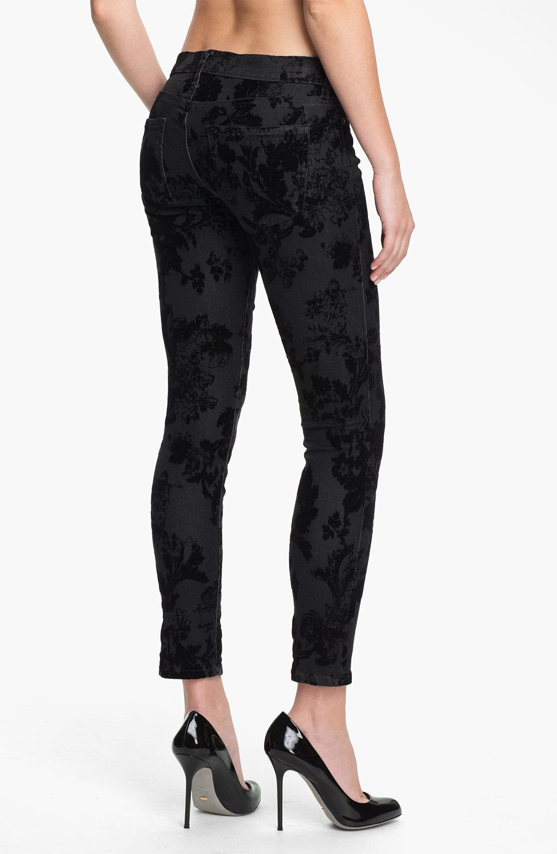 Alternate Image 2  - Current/Elliott Ankle Zip Skinny Jeans (Black Velvet Floral)