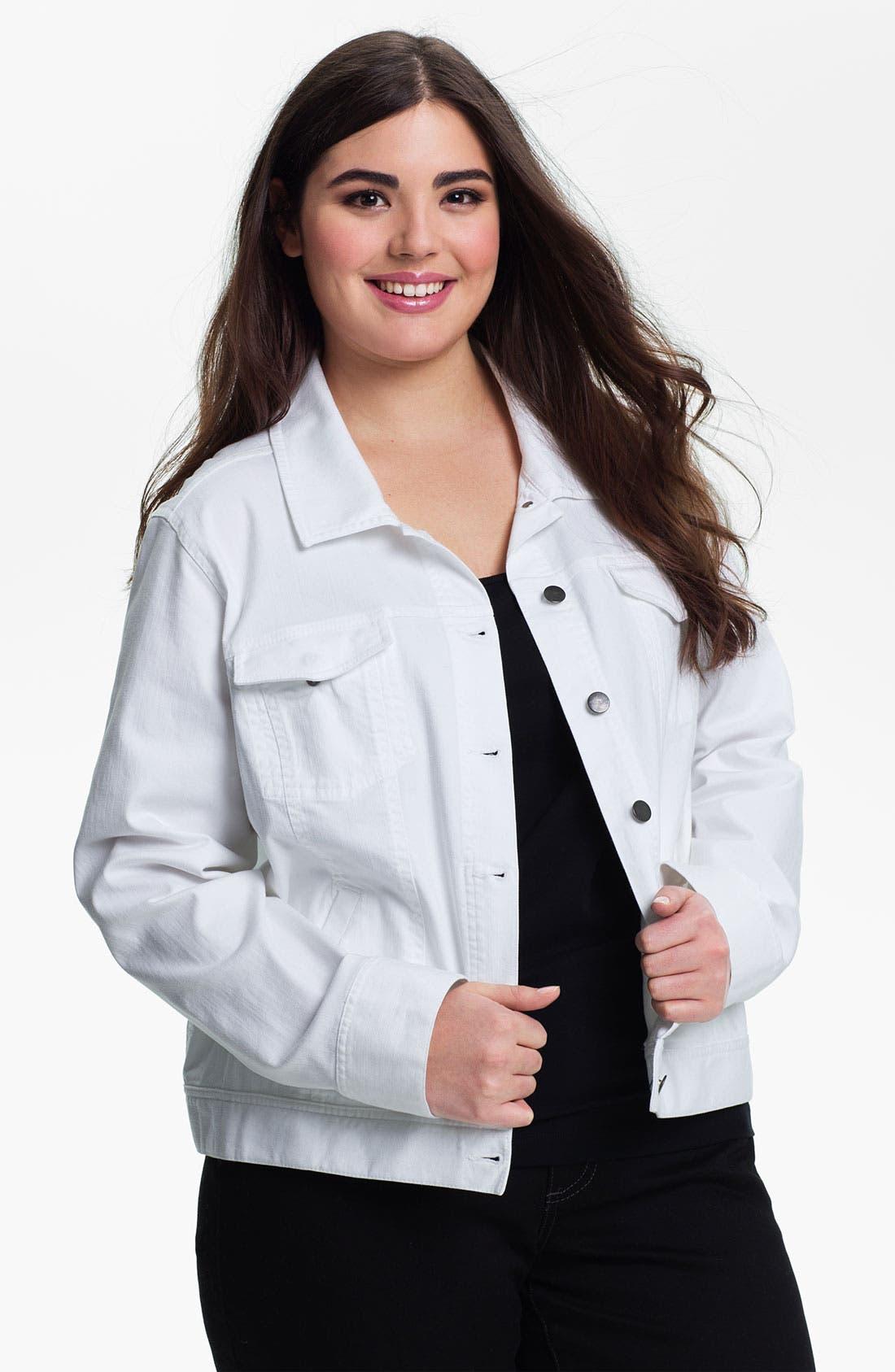 Alternate Image 1 Selected - Eileen Fisher Organic Cotton Jean Jacket (Plus)