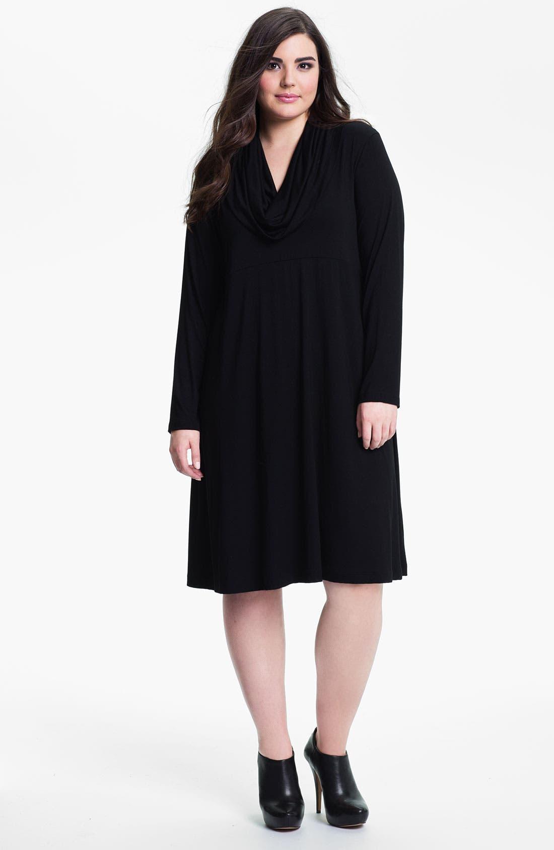 Main Image - Karen Kane Drape Neck Knit Dress (Plus)