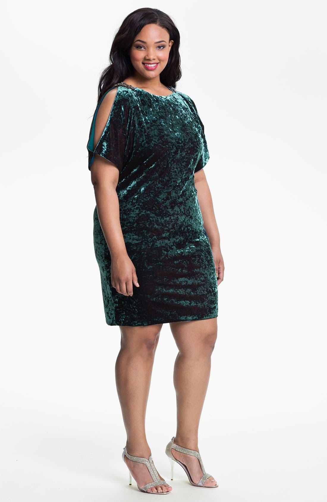 Main Image - Aidan Mattox Split Sleeve Crushed Velvet Shift Dress