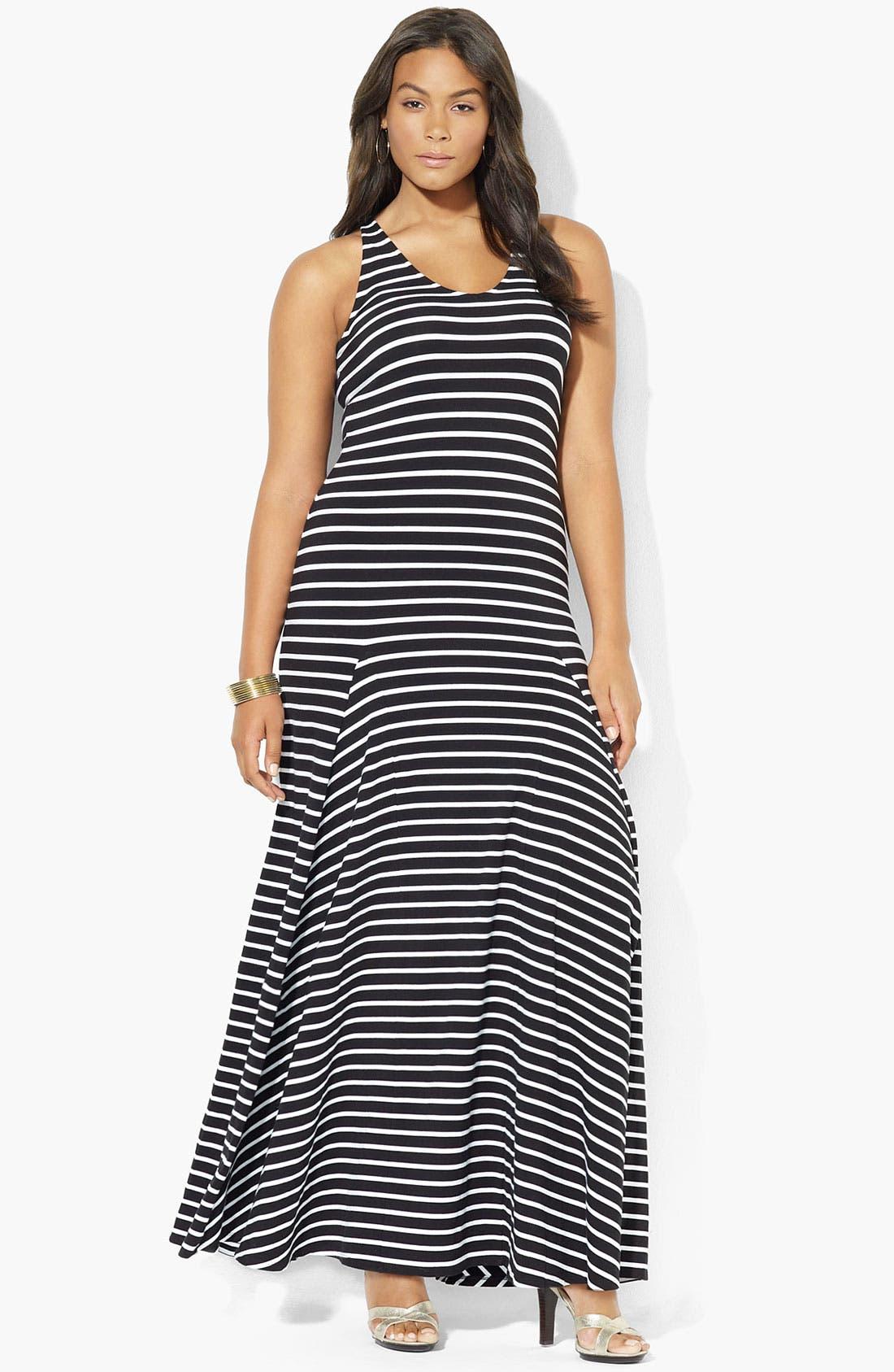 Alternate Image 1 Selected - Lauren Ralph Lauren V-Neck Maxi Dress (Plus)