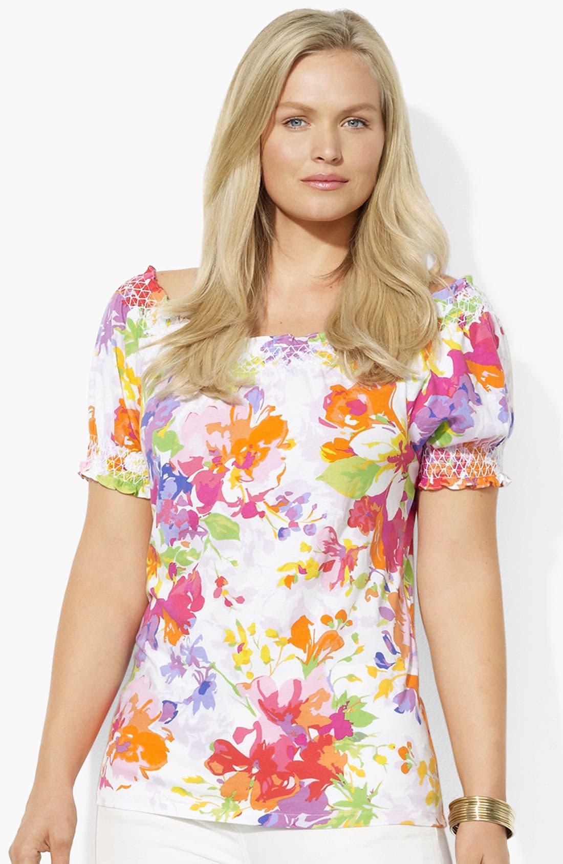 Alternate Image 1 Selected - Lauren Ralph Lauren Floral Print Cotton Top (Plus)