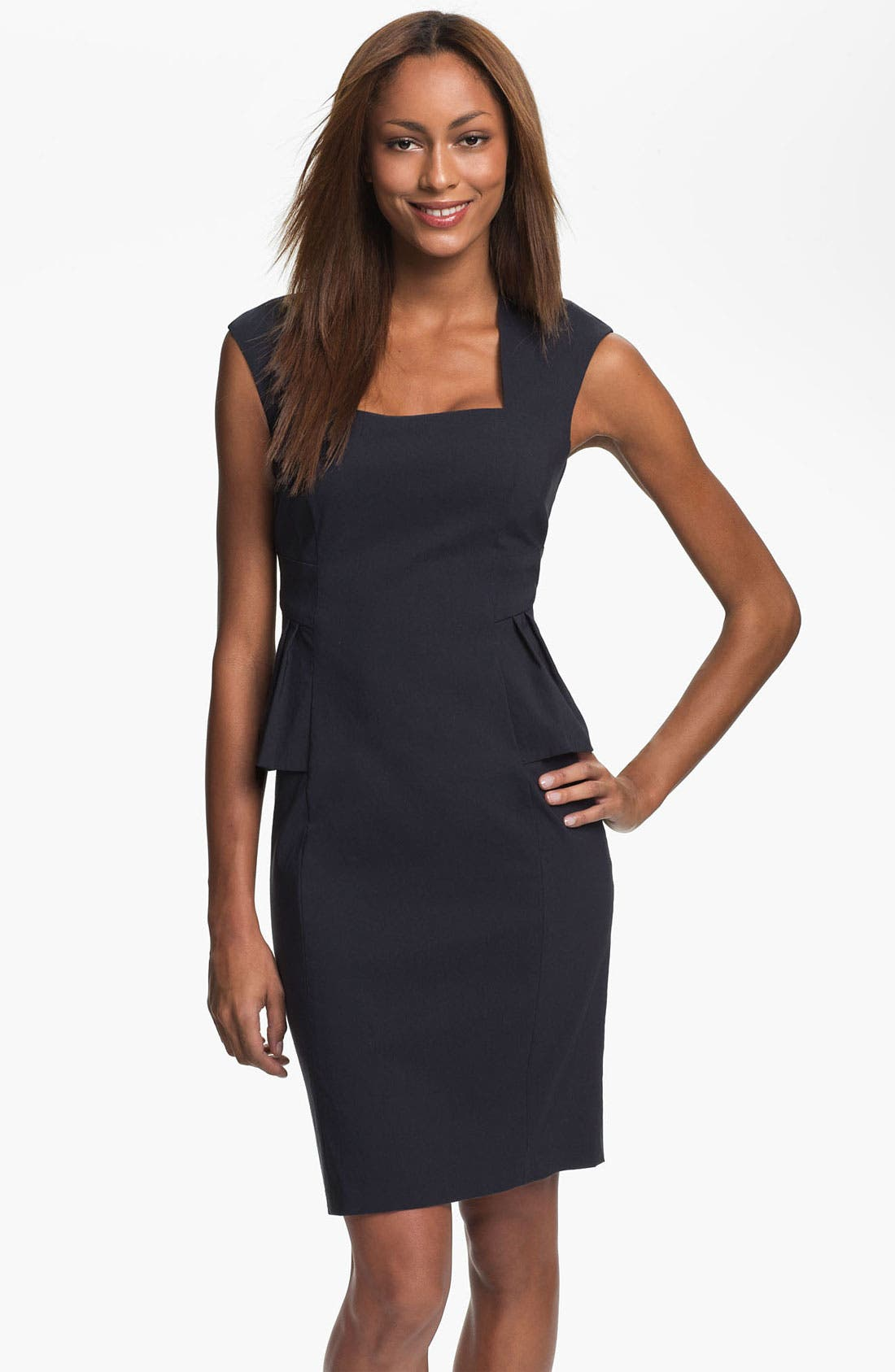 Main Image - Kay Unger Cap Sleeve Side Peplum Woven Dress