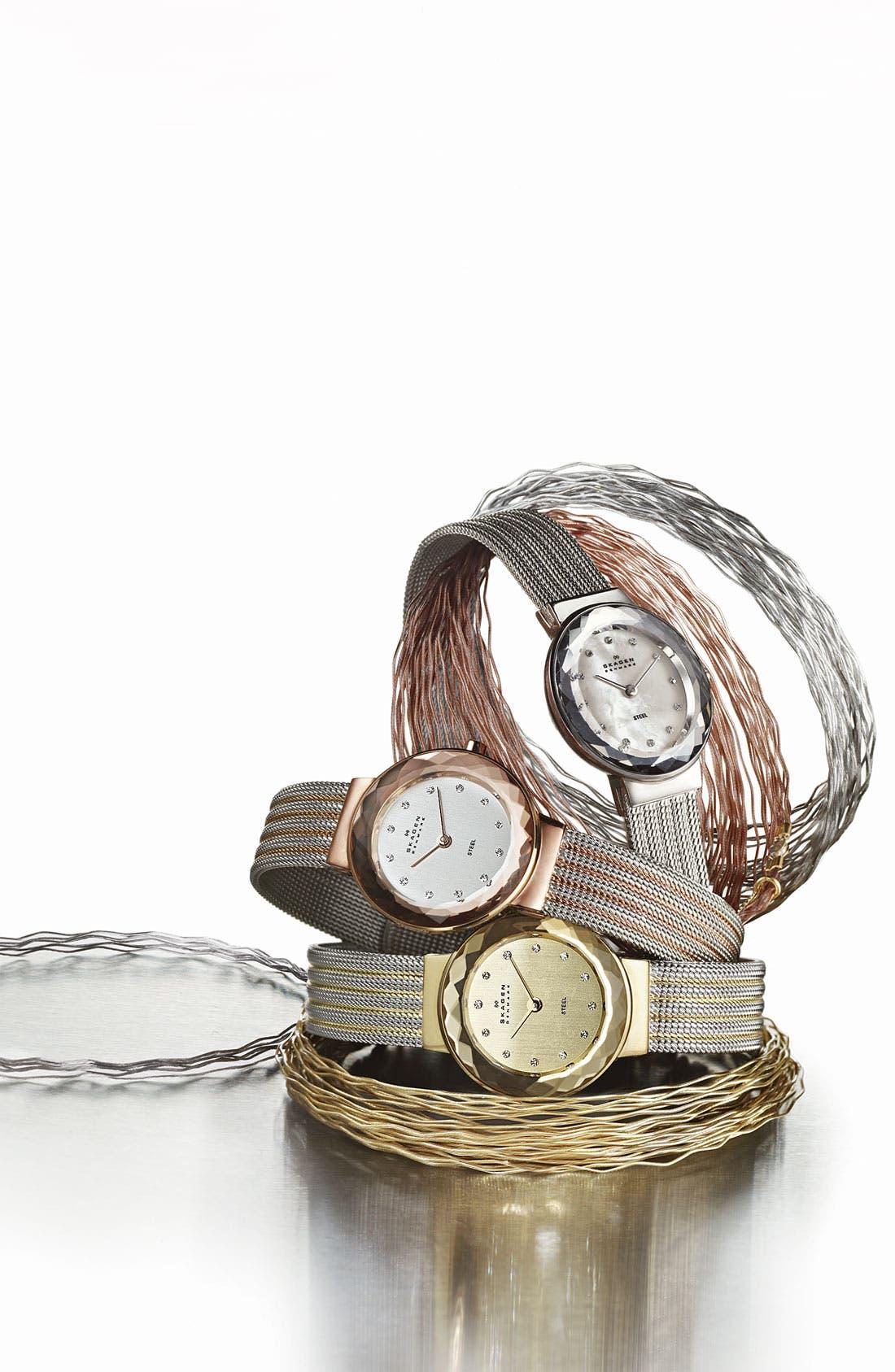 Alternate Image 2  - Skagen Round Striped Mesh Strap Watch