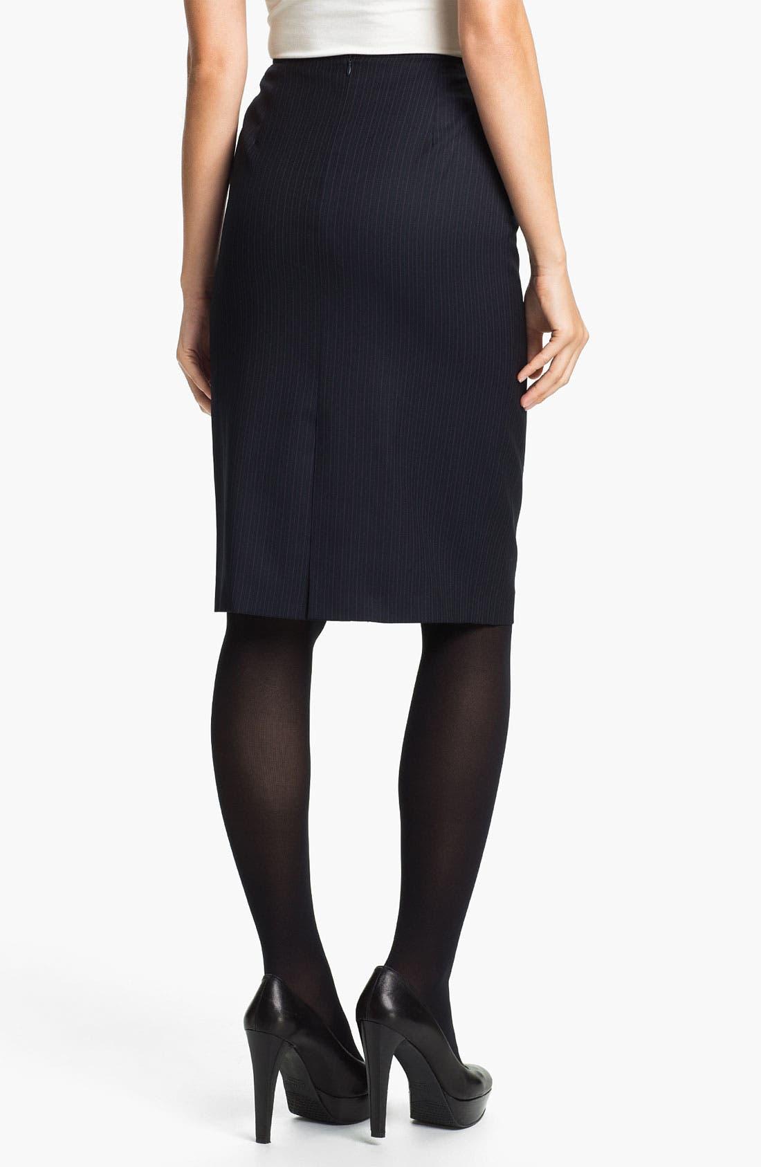 Alternate Image 2  - Santorelli 'Maria' Stripe Wool Skirt