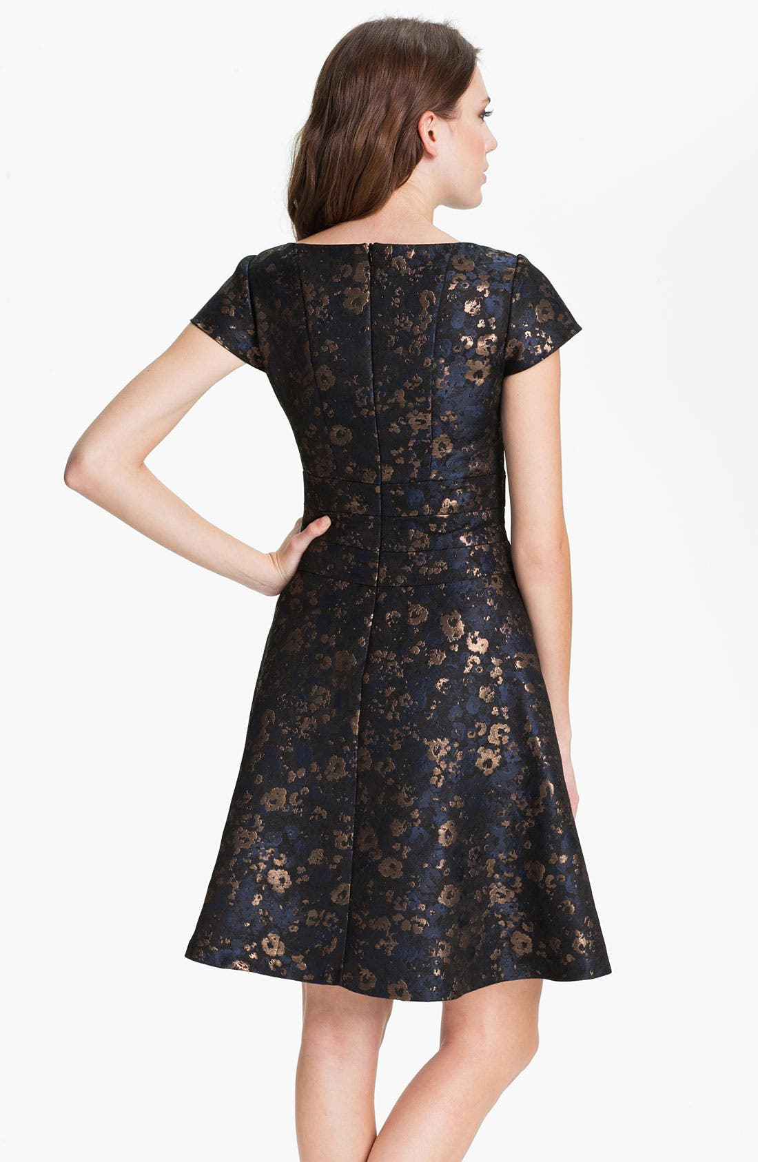 Alternate Image 2  - Donna Ricco Short Sleeve Brocade Fit & Flare Dress