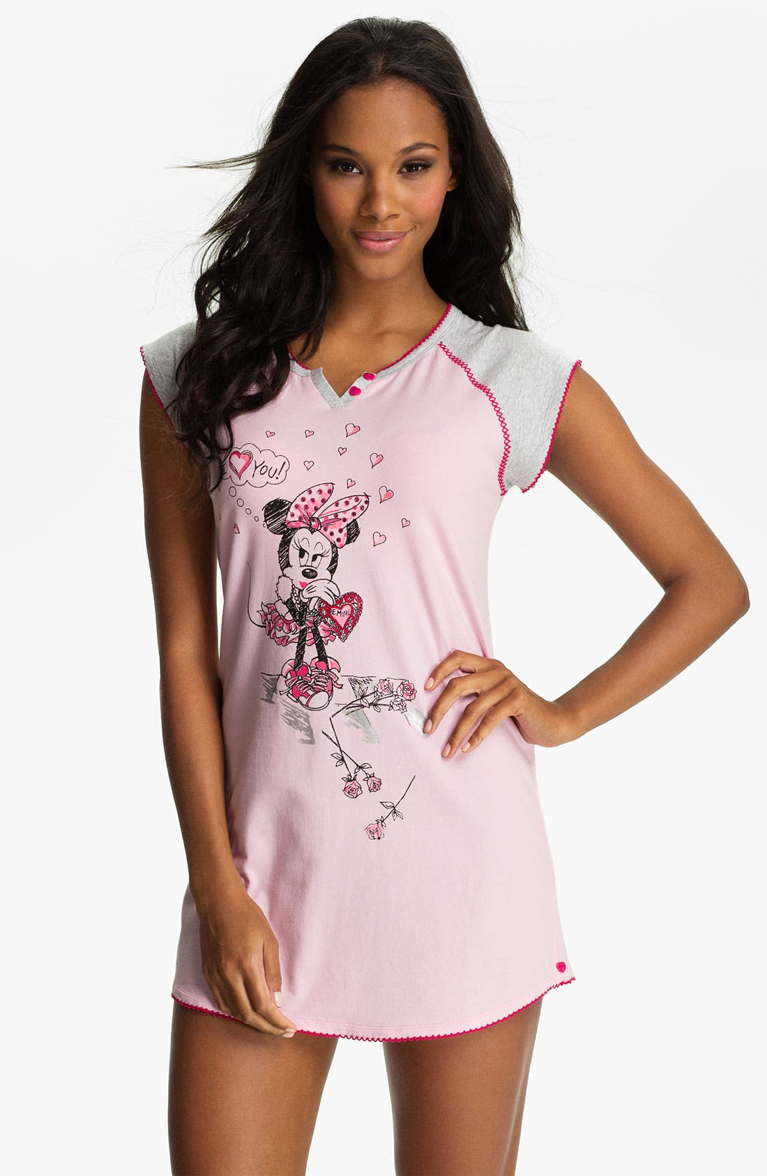 Alternate Image 1 Selected - Betsey Johnson 'Minnie' Stretch Cotton Sleep Shirt