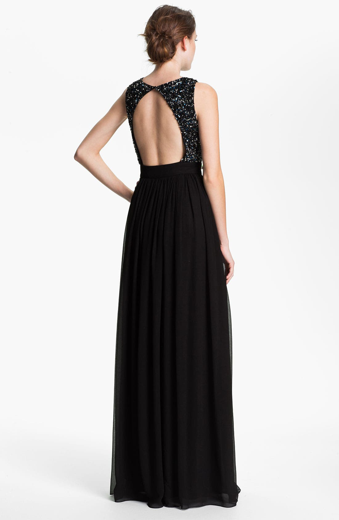 Alternate Image 2  - Adrianna Papell Open Back Sequin & Chiffon Gown