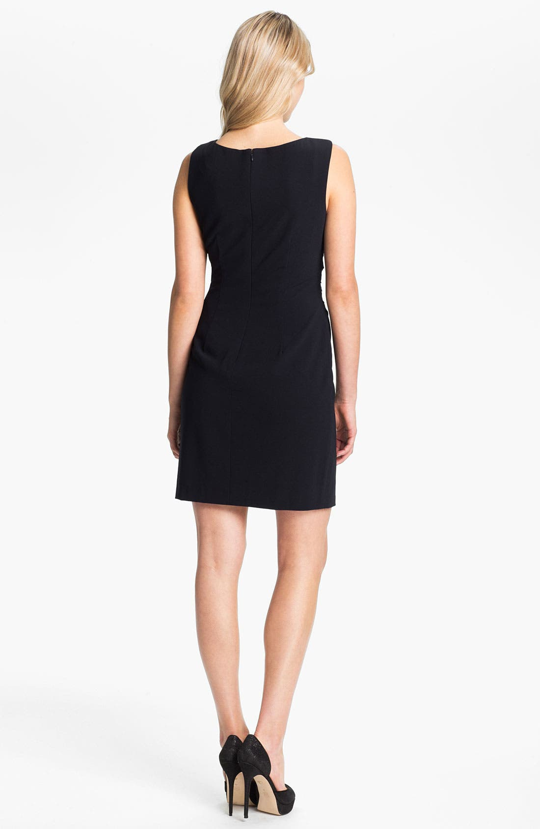 Alternate Image 2  - Suzi Chin for Maggy Boutique Ruched Asymmetrical Crepe Sheath Dress