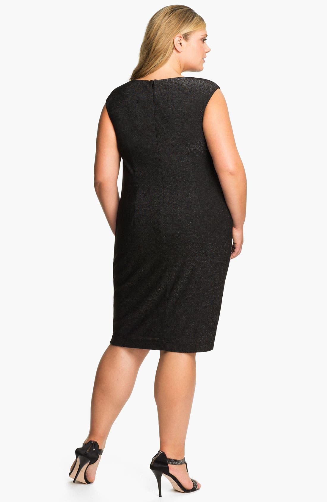 Alternate Image 2  - Adrianna Papell Beaded Shoulder Jersey Shift Dress (Plus)