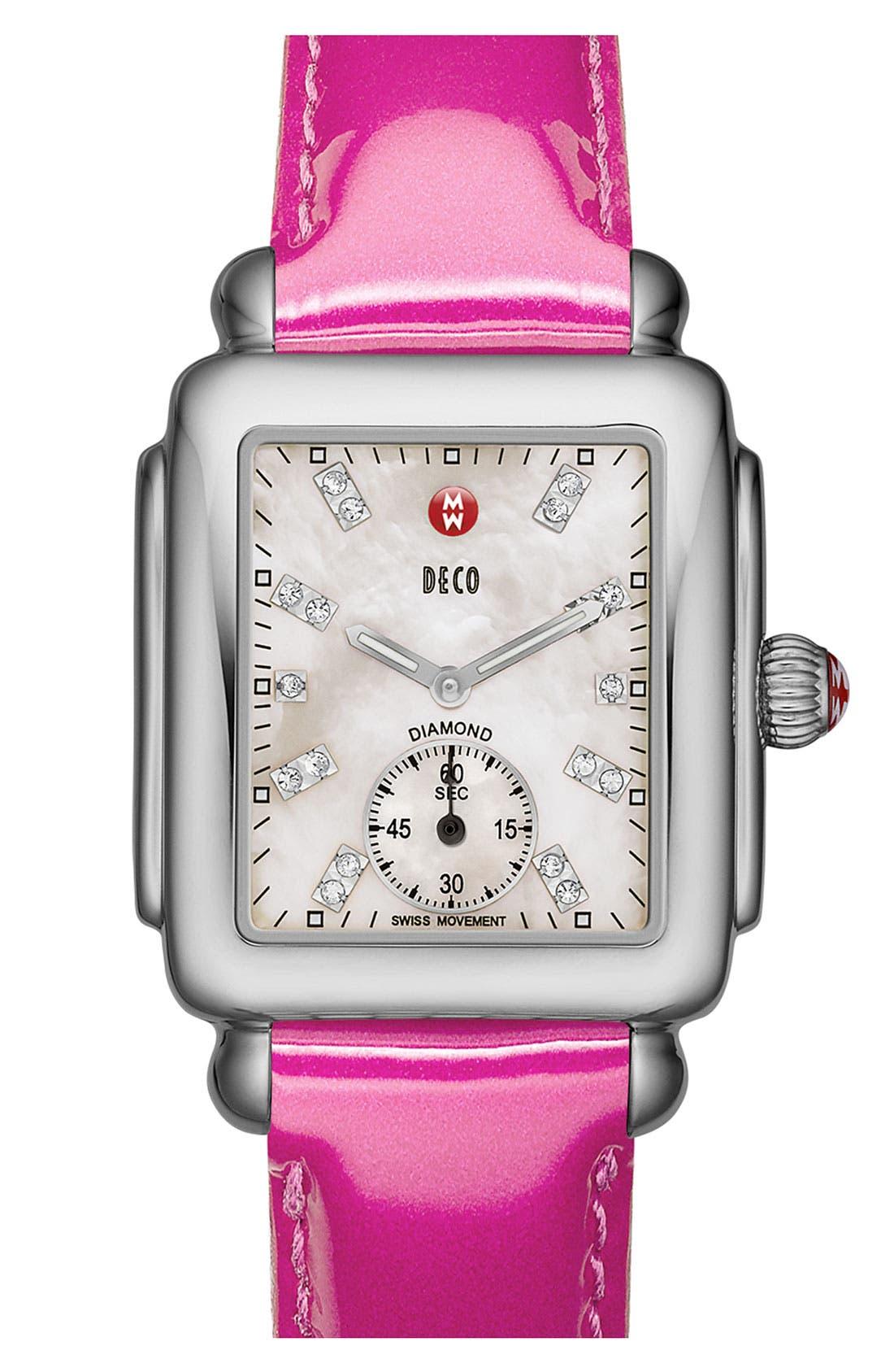 Alternate Image 2  - MICHELE 16mm Patent Leather Watch Strap