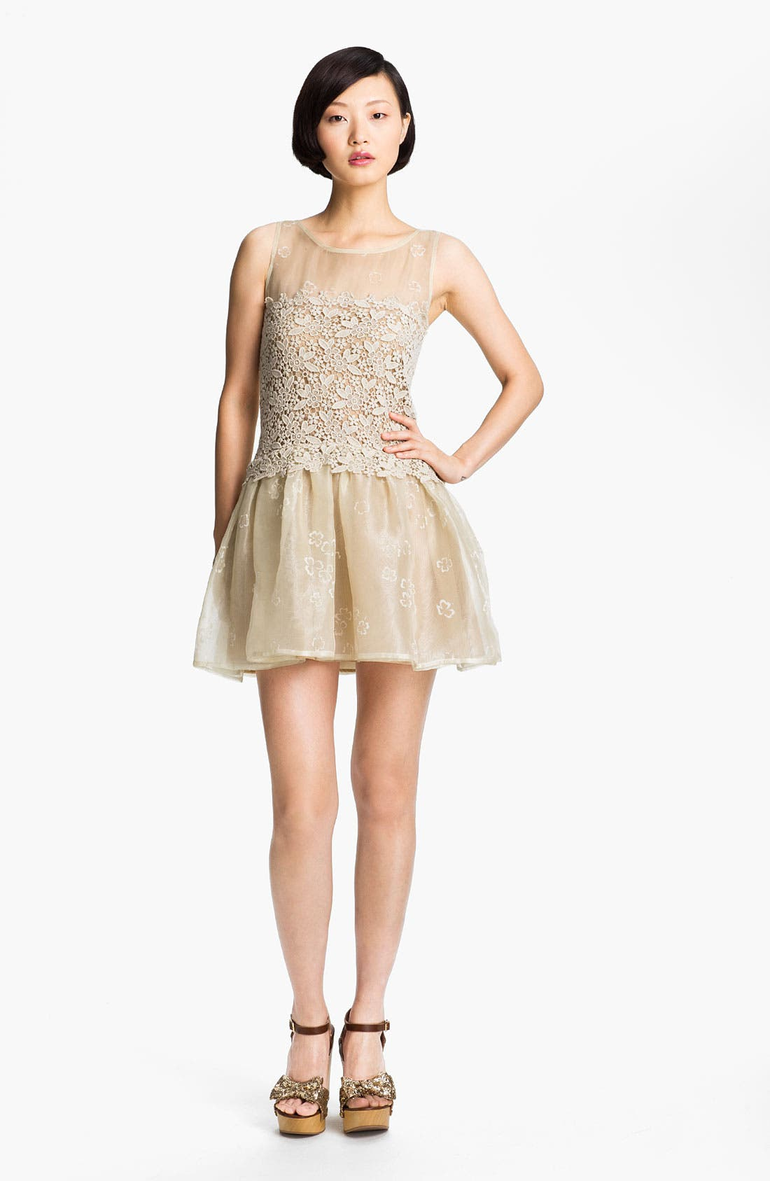Alternate Image 1 Selected - RED Valentino Organza & Macramé Lace Frock