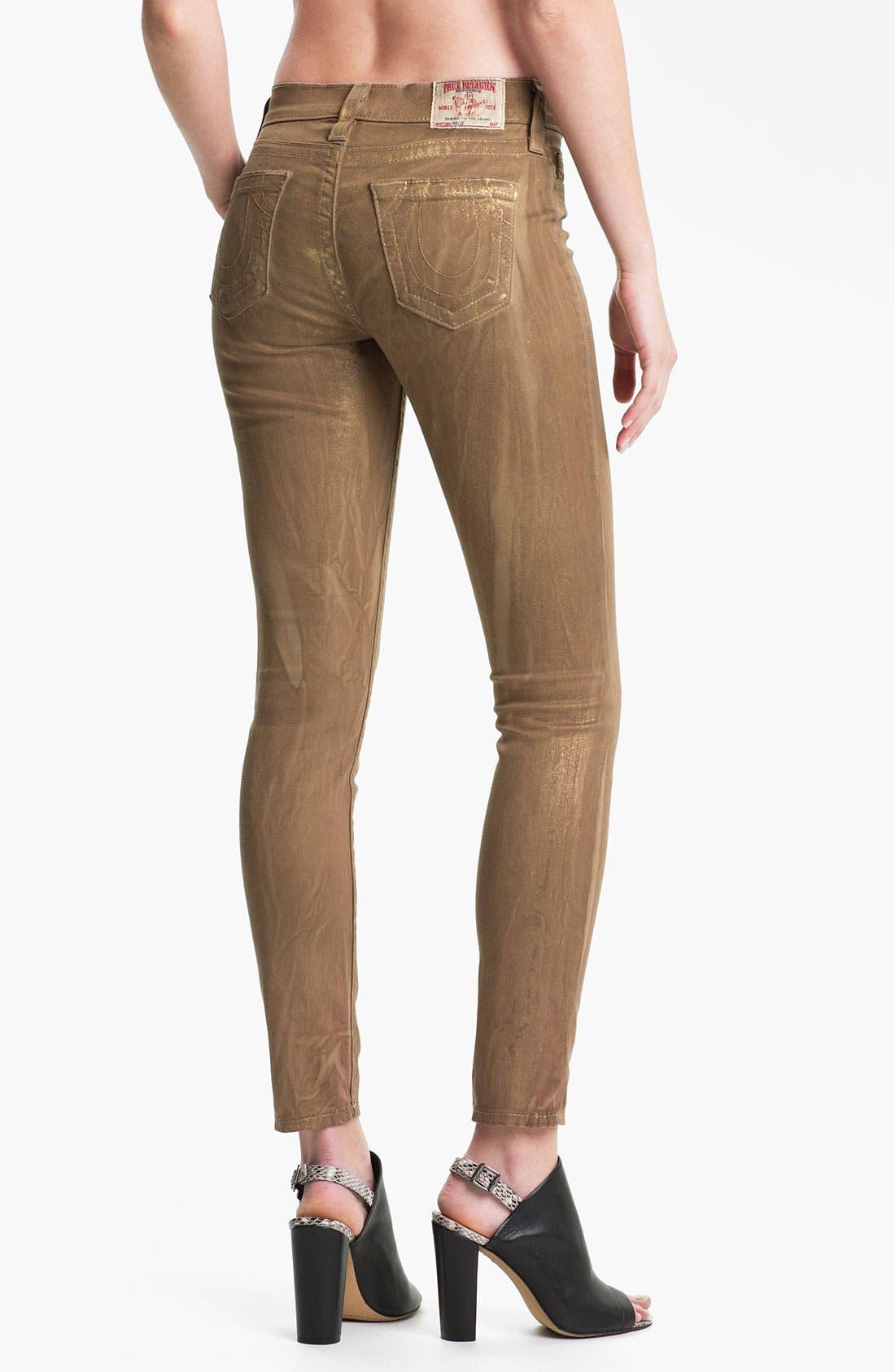 Alternate Image 2  - True Religion Brand Jeans 'Halle' Skinny Stretch Jeans (Metallic Gold)