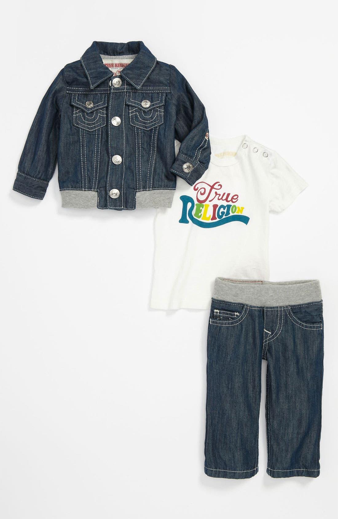 Main Image - True Religion Brand Jeans Shirt, Jacket & Jeans Gift Set (Infant)