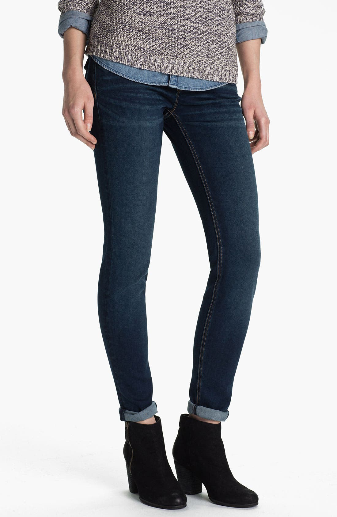 Alternate Image 2  - Vigoss Flap Pocket Skinny Stretch Jeans (Juniors)