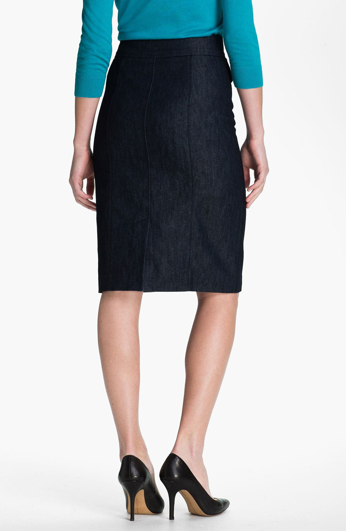 Alternate Image 2  - Halogen® Double Button Front Denim Skirt