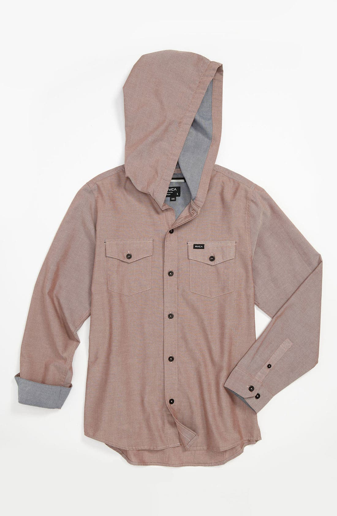 Alternate Image 1 Selected - RVCA 'Oxo' Hooded Woven Shirt (Big Boys)