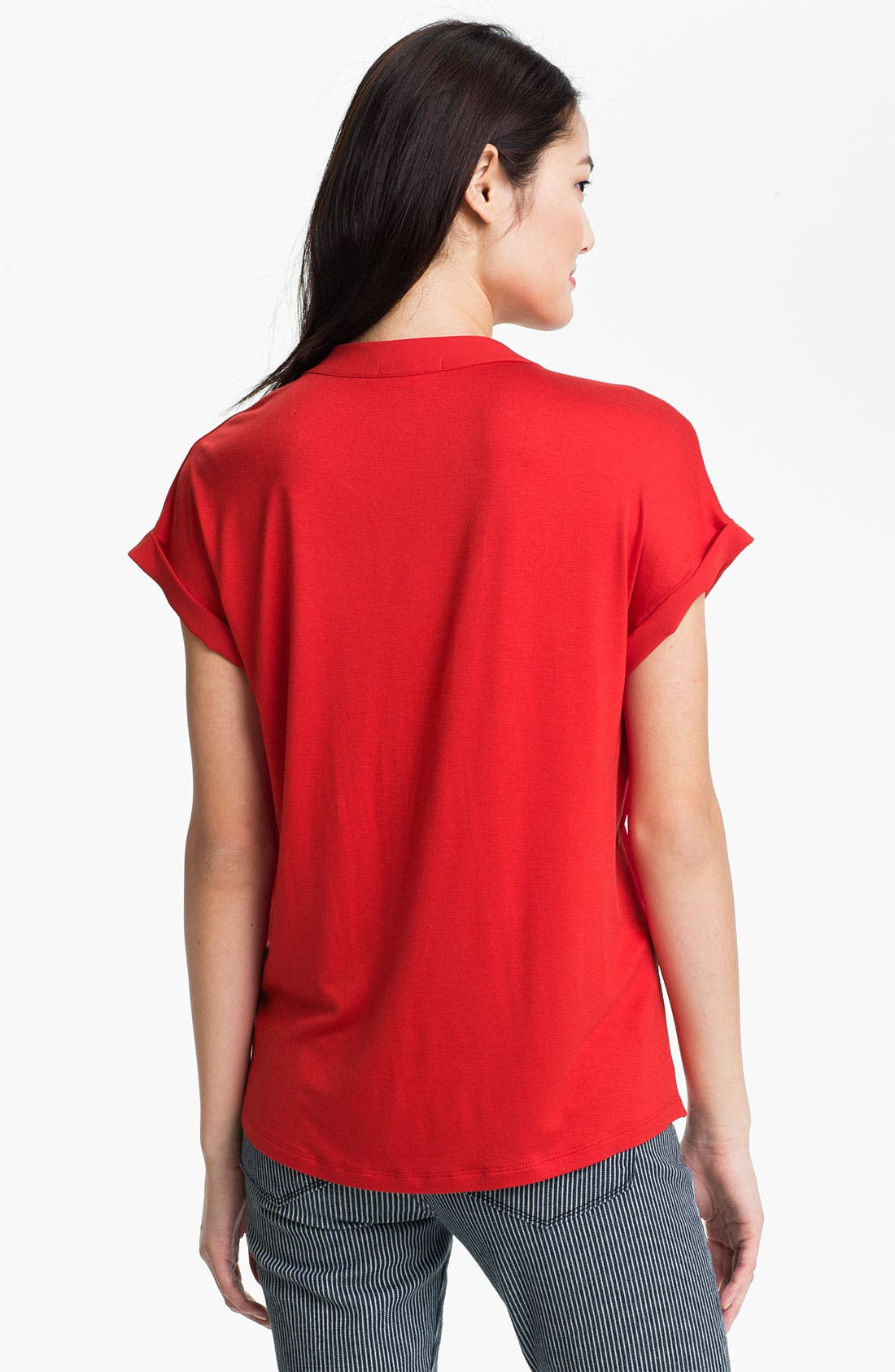 Alternate Image 2  - Pleione Split Neck Mixed Media Blouse (Petite)
