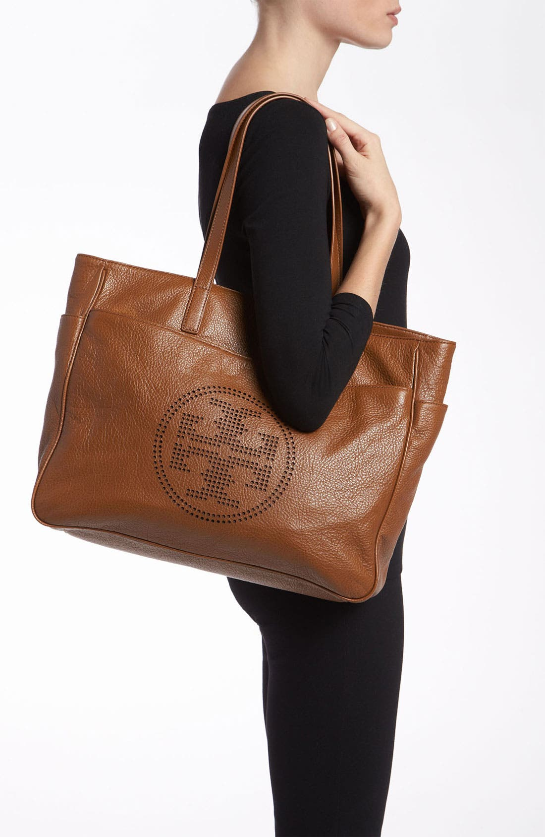 Alternate Image 2  - Tory Burch Perforated Logo Classic Leather Tote