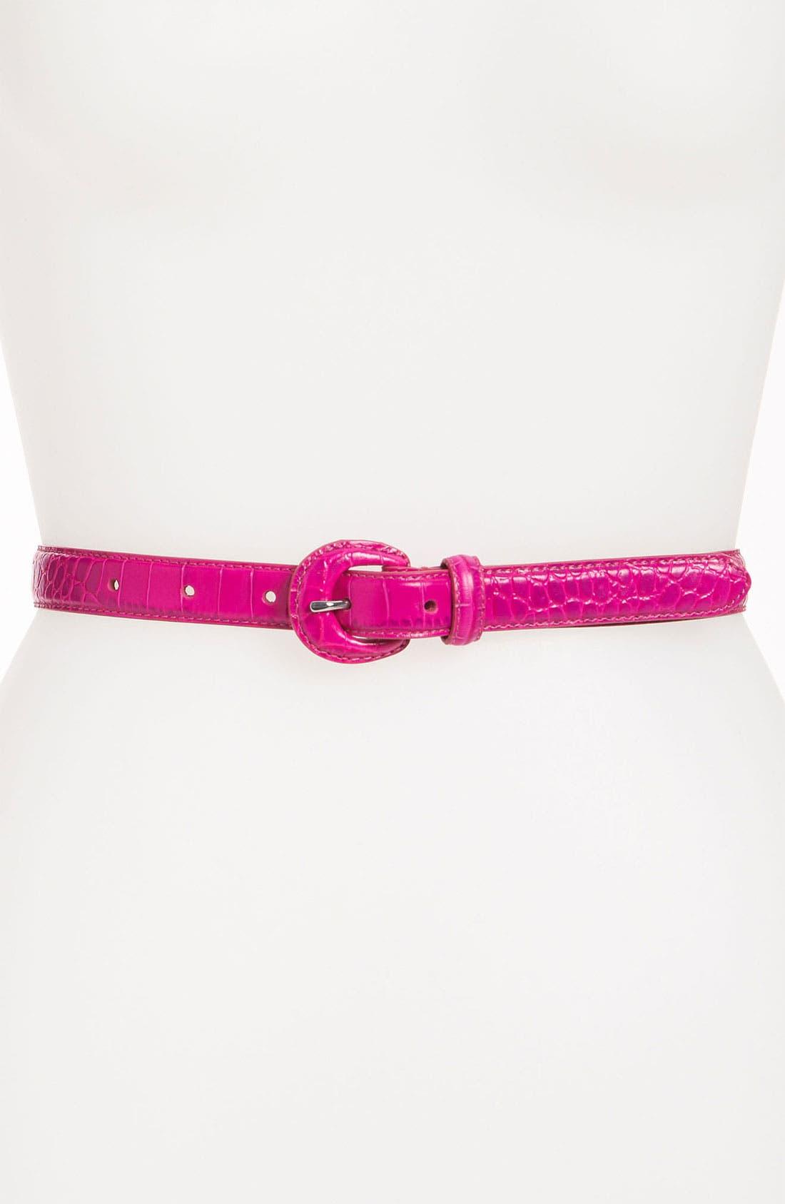 Main Image - Lauren Ralph Lauren Croc Embossed Leather Belt