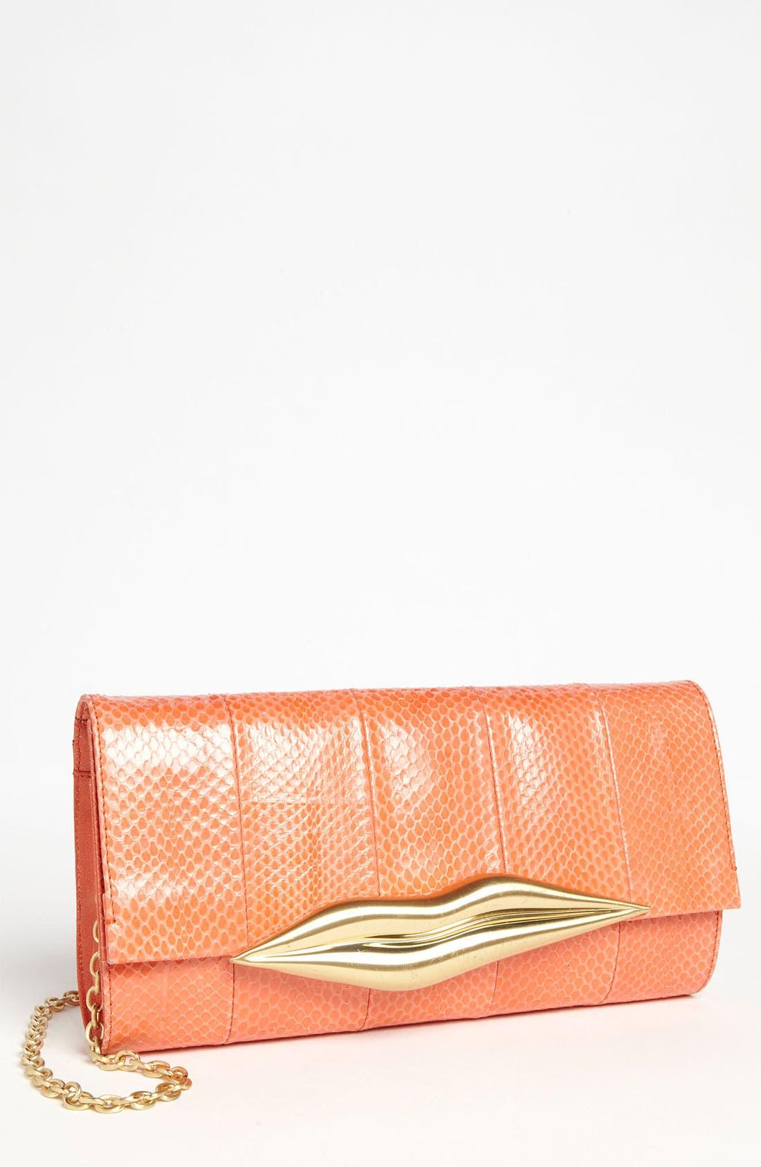 Alternate Image 1 Selected - Diane von Furstenberg 'Carolina Lips' Leather & Genuine Snakeskin Clutch