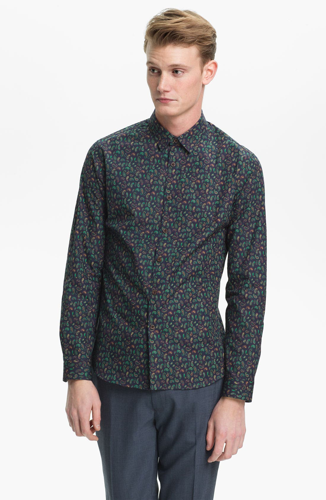 Alternate Image 1 Selected - Topman Paisley Print Dress Shirt